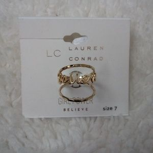 LC Lauren Conrad Believe ring set NWT